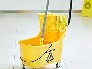 AmazonBasics Side Press Wringer Combo Commercial Mop Bucket on Wheels  35 Quart  Yellow