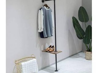 FURVOKIA Industrial Rustic Pipe Shelves Floating Garment Rack  Standing Entryway Coat Tree Hat Hanger Holder Jacket Purse Scarf Clothing Display Stand