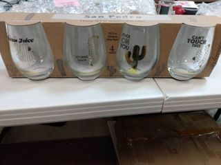 Circleware Cactus Wine Glasses 18 9 Ounce  Clear Multi