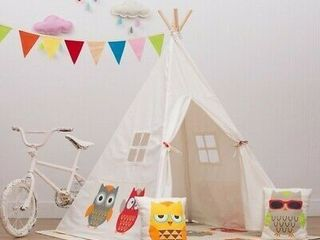 Owls Teepee Tent Kids Boy Girls Party Decor Indoor Playhouse Wigwam