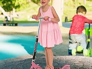 WeSkate Kids Scooter 2 Wheels for Girls Boys 5 and Up  Smooth Gliding  Adjustable Height Folding Kick Scooters with lED light Up PU Wheels