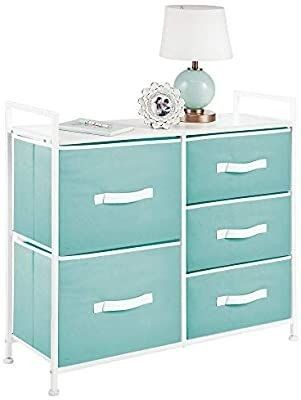 mDesign Dresser Storage Chest   Sturdy Steel Frame  Wood Top  Easy Pull Fabric Bins   Organizer Unit for Bedroom  Hallway  Entryway  Closets   5 Drawers   Turquoise White