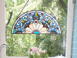 River of Goods Corista Half Moon Stained Glass Window Panel   Blue