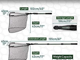 Rodeel Rubber Coated 61  Telescopic Fishing Folding landing Net Pole Extending 23 61 inch 58 155 cm for Fly Carp Course Sea