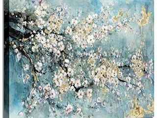 Abstract Flower Canvas Wall Art  Dogwood Painting Artwork