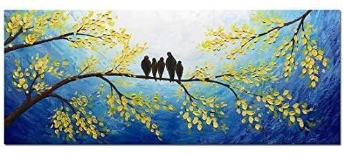 Yotree Paintings  24x60 Inch Paintings 5 Birds inhabit trees Oil Hand Painting 3D Hand Painted On Canvas