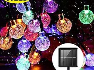 Upoom Solar String lights Garden 50 lED 24Ft Outdoor String lights Multi Colored Waterproof Crystal Ball Fairy lights