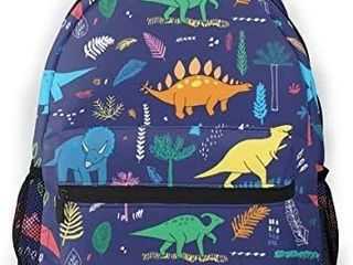 AHOOCUSTOM Funny Dinosaurs with Palm leaves School Bag for Girls Travel Backpack
