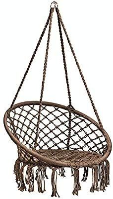 Caromy Hammock Chair Macrame Swing  Hanging lounge Mesh Chair Durable Cotton Rope Swing