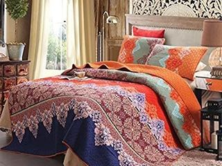 Exclusivo Mezcla 100  Cotton 3 Piece Rich Printed Boho Quilt Set