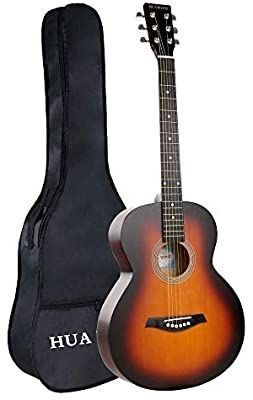 HUAWIND Acoustic Guitar 38 inch Basswood Steel Strings Sunburst Acoustic Guitar for Beginners with Gig Bag