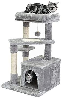 SUPERJARE Cat Tree with Extra Scratching Board   Posts  Kitten Tower Center with Plush Perch and Dangling Ball  Pet Play Condo Furniture