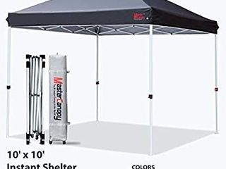 MASTERCANOPY Pop up Canopy Tent Commercial Instant Canopy with Wheeled Bag Canopy Sandbags x4 Tent Stakesx4 10 x10  Black