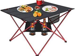 MOVTOTOP Folding Camp Table  2 Tier Portable Camping Table with 4 Cup Holders and Carrying Bags