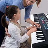 RenFox 61 Key Keyboard Piano with Microphone   Music Stand Portable Electronic Kids Piano Keyboard for Beginners 22 9x7 9x2 3 Inch