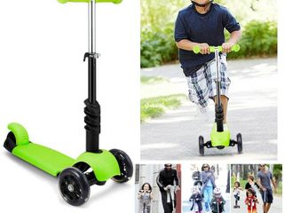 Kids 3 lED Wheels Mini Kick Scooter Children Walkers 3 in 1 Toddler Scooters with Adjustable Handle T Bar   Seat DIRESOP