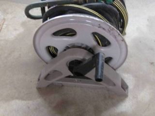 Hose Reel With Heavy Duty 100 Foot Hose & Spray Nozzle & Hose Splitter {9}