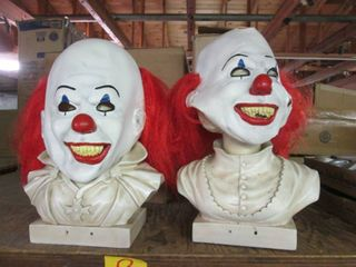 (2) Halloween Clown Masks on Statue...