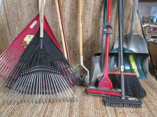 Huge Lot of Yard & Clean Up Tools (Rakes, Shovels, Mop, Broom, Scrubber, Edger, & Extra Handles {9}