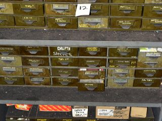 Drawers with contents including miscellaneous taps and drill bits