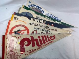 Group of vintage pennants, Phillies, Orioles, Padres, Bills, Cowboys, Jets