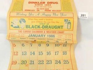 1986 Dinkler Drug  Calendar  Hennessey  OK