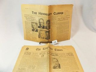 1947 Kingfisher  OK News  1954 Hennessey  OK