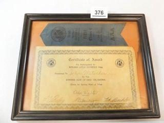 1966 Kiwanis little Olympics Award  Enid  OK