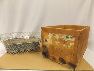 Wood Crate  Metal Tin Planter