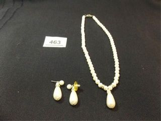 White Bead Necklace  Earrings