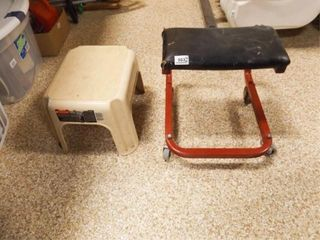 Step Stool  Wheeled Seat
