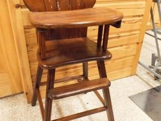 Wood High Chair  39  x 15  x 16