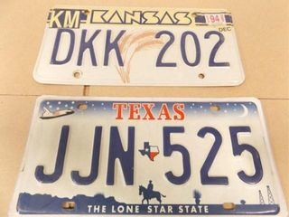 Kansas  Texas license Plates  2
