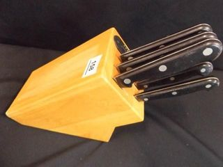 Pampered Chef Knife Block  5 Knives