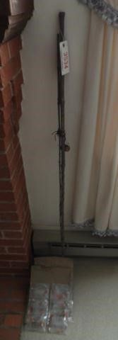 Vintage bamboo fishing pole and large qty of