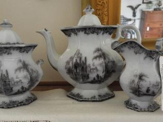 Early English 3pc Ironstone transferware tea