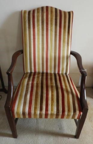 Upholstered open arm side chair
