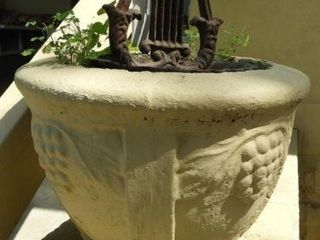(2) concrete flower pots urns with grapevine