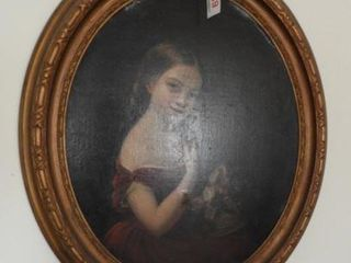 Late 19th Century Oval Oil on canvas portrait