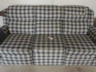 Contemporary blue and white plaid upholstered