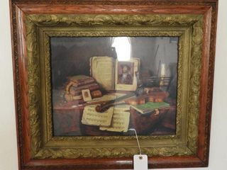 Antique framed still life print in Oak decorated