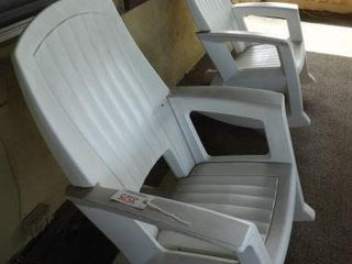 Pair of Heavy duty white plastic porch rockers