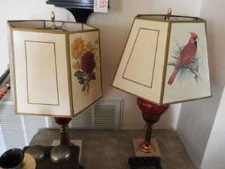 (2) Cranberry font table lamps one with acid