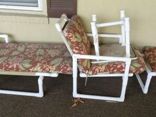 4pc PVC patio set with chaise lounge chair and