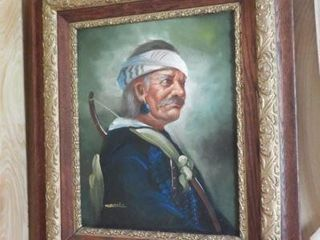 Framed Oil on canvas portrait in antique Oak