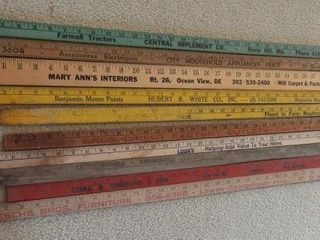 Lot of (10) vintage yard sticks to include: