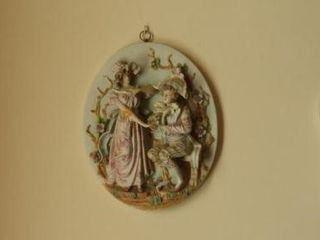 Meissen Bisque 3pc wall plaque set