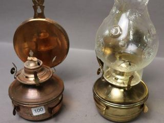 2 METAl BRACKET OIl lAMPS   ON WITH CHIMNEY
