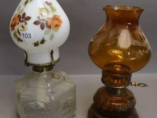 2 GlASS OIl lAMPS WITH CHIMNEY   13 H   10 H