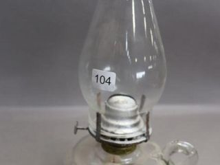 GlASS FINGER OIl lAMP WITH CHIMNEY   13 H